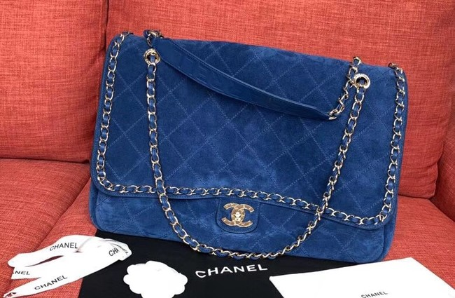 Chanel Flap Shoulder Bags XXL Blue CF1553 Gold