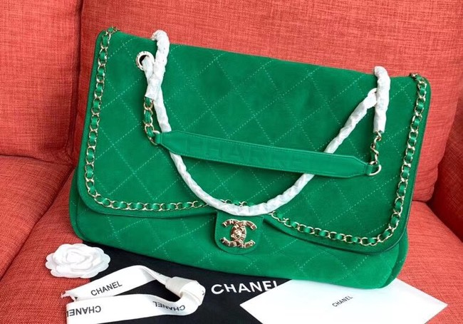 Chanel Flap Shoulder Bags XXL Blue CF1553 Green