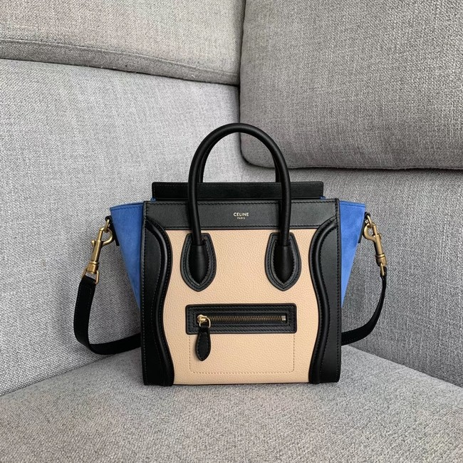 CELINE NANO LUGGAGE BAG IN LAMINATED LAMBSKIN 189243-3