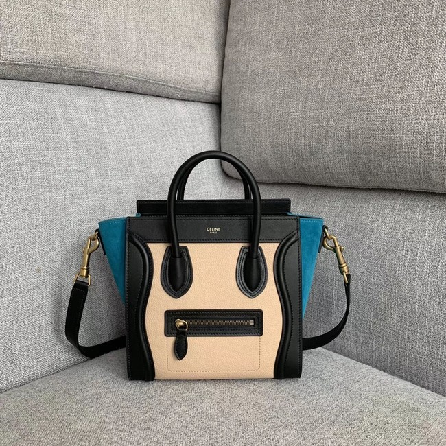 CELINE NANO LUGGAGE BAG IN LAMINATED LAMBSKIN 189243-4