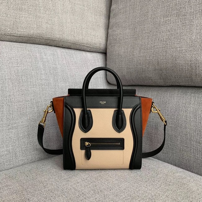 CELINE NANO LUGGAGE BAG IN LAMINATED LAMBSKIN 189243-8