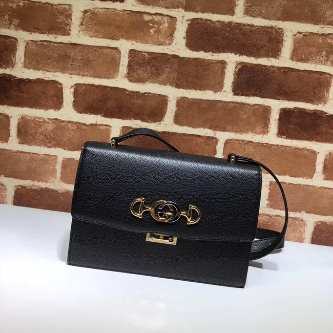 Gucci GG Leather Shoulder Bag 576388 Black