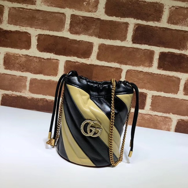 Gucci GG Marmont mini bucket bag 575163 black&apricot