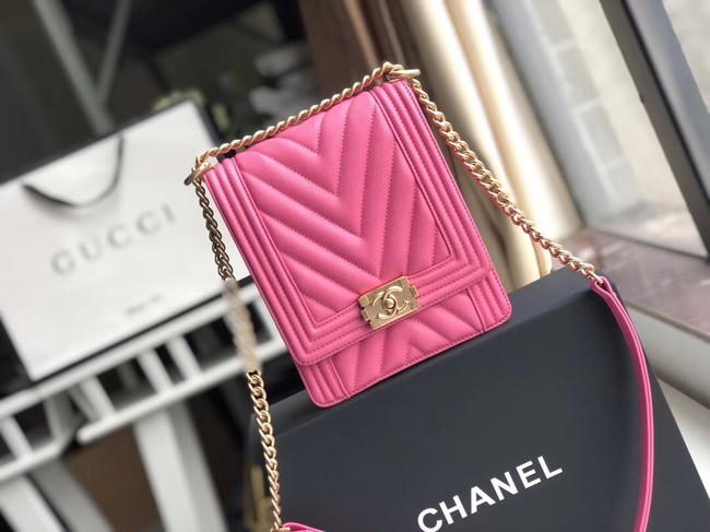 Boy chanel handbag Grained Calfskin & Gold-Tone Metal VS0130 rose