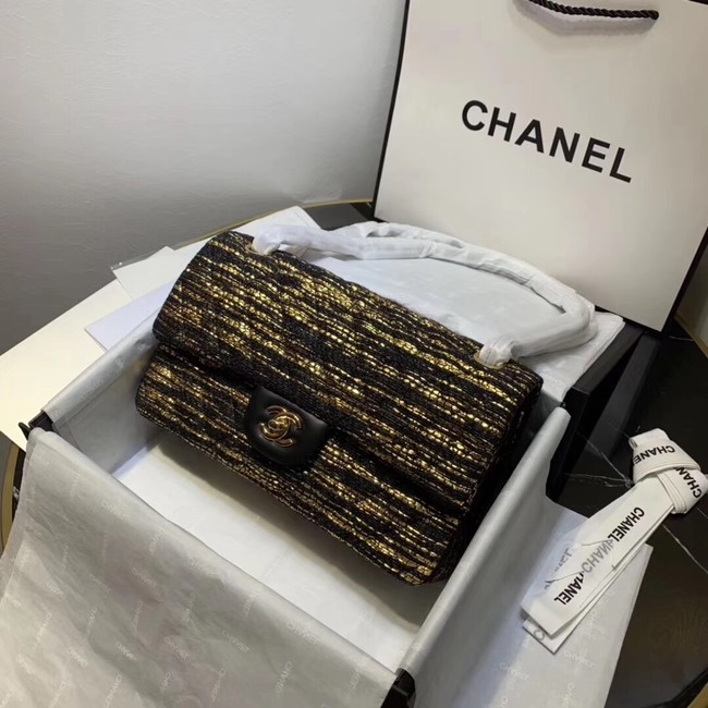 CHANEL Tweed Calfskin -Tone & Gold-Tone Metal 1112 black