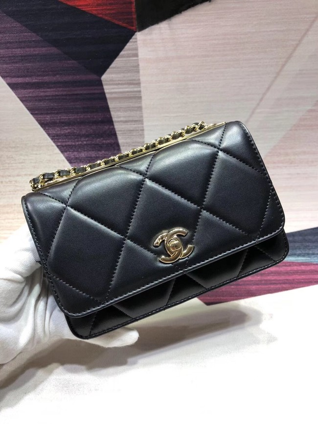 Chanel Original Leather Shoulder Bag Black A80982 Gold