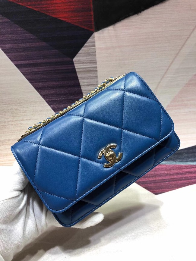 Chanel Original Leather Shoulder Bag Blue A80982 Gold