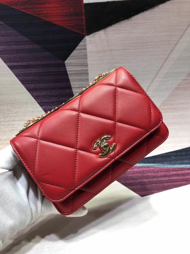 Chanel Original Leather Shoulder Bag Red A80982 Gold