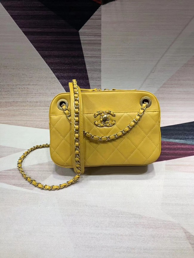 Chanel Original Leather Bag 9235 Yellow