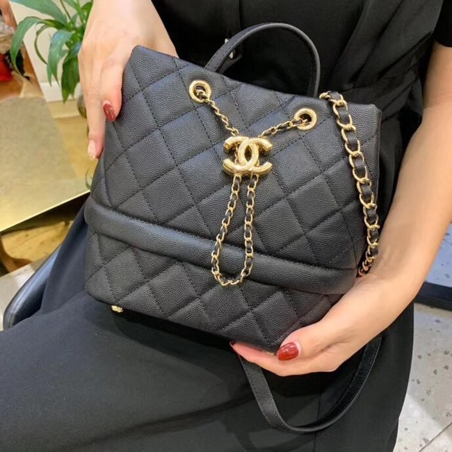 Chanel Original Caviar Leather Sac Hobo Bag AS0894 black