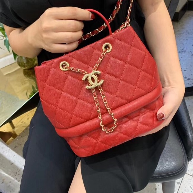 Chanel Original Caviar Leather Sac Hobo Bag AS0894 red