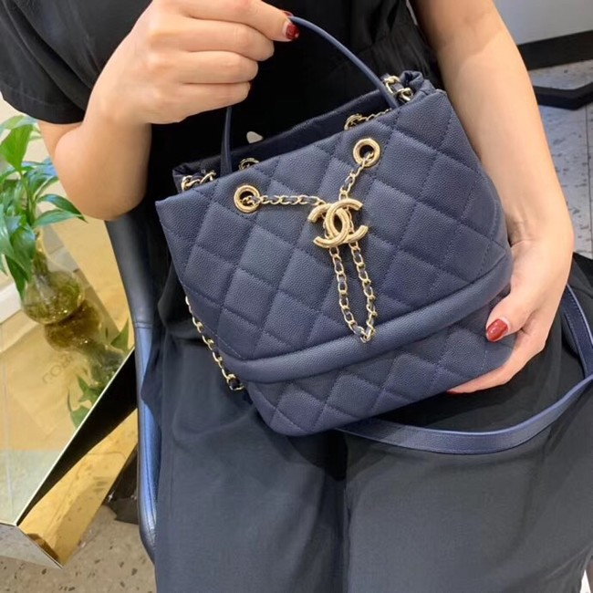 Chanel Original Caviar Leather Sac Hobo Bag AS0894 blue