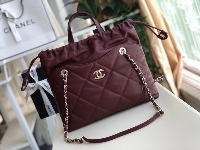 Chanel Classic Sheepskin Leather Shopping bag AS0985 red