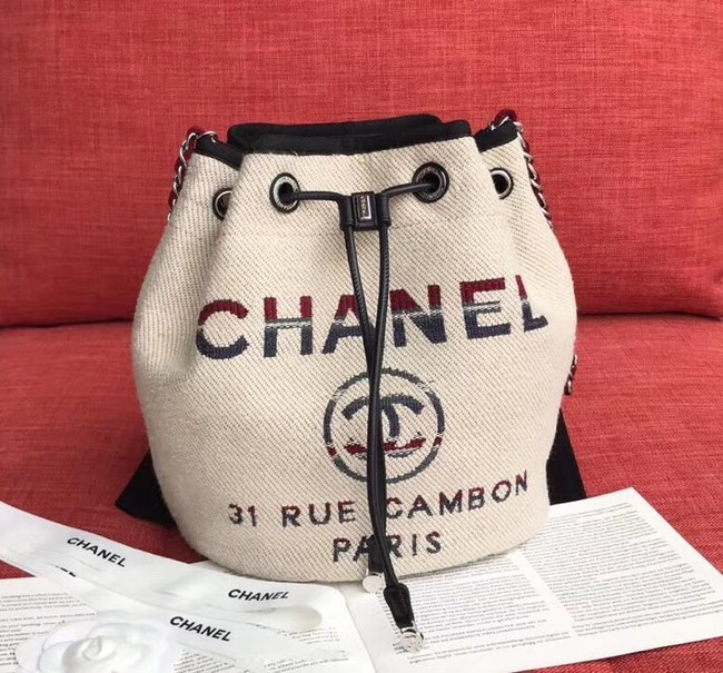 CHANEL Tweed Calfskin drawstring bag & Gold-Tone Metal AS0455 Cream