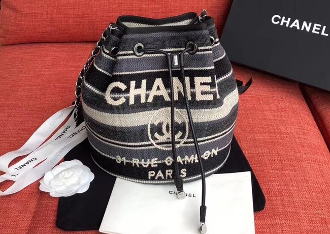 CHANEL Tweed Calfskin drawstring bag & Gold-Tone Metal AS0455 grey.white.Navy