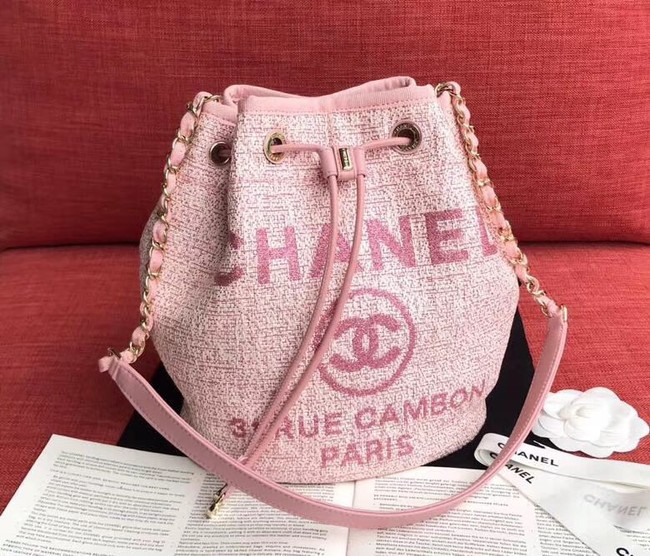 CHANEL Tweed Calfskin drawstring bag & Gold-Tone Metal AS0455 pink