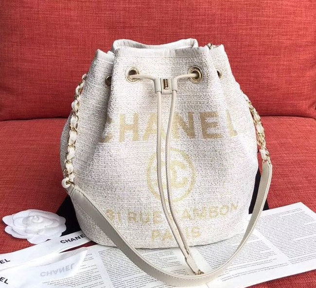 CHANEL Tweed Calfskin drawstring bag & Gold-Tone Metal AS0455 white