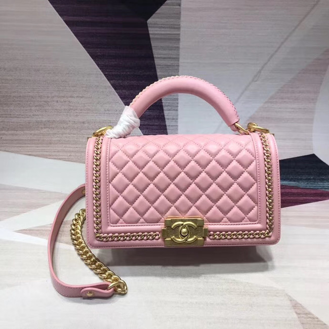 Chanel Leboy Original leather Shoulder Bag H67086 pink & gold -Tone Metal