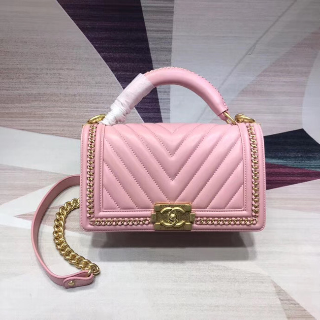 Chanel Leboy Original leather Shoulder Bag V67086 pink & gold -Tone Metal