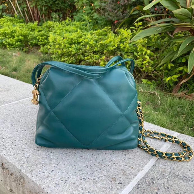 Chanel Original Soft Leather Chain Bag & Gold-Tone Metal AS0781 green