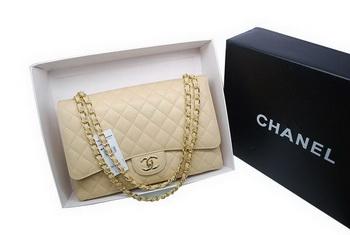 Chanel Maxi Double Flaps Bag A36098 Apricot Original Caviar Leather Gold 17f160de52