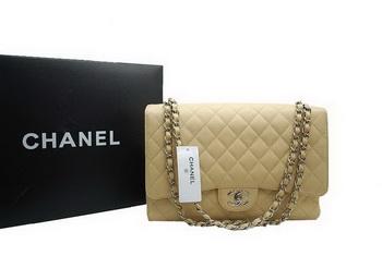 Chanel Maxi Double Flaps Bag A36098 Apricot Original Caviar Leather Silver e5583af8c3