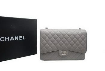Chanel Maxi Double Flaps Bag A36098 Grey Original Caviar Leather Silver 16c979d8f9