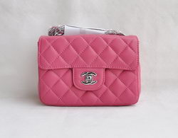 Chanel Classic Plum Red Lambskin Silver Chain Quilted Flap Bag 1115