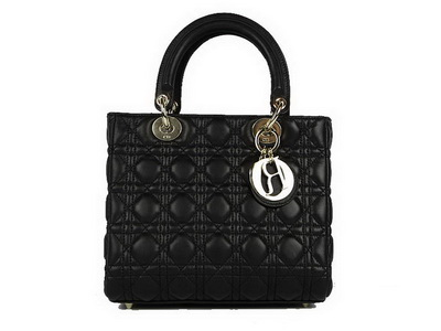 Christian Dior Lambskin Bags Lady Dior Bag CAL44550 Black Golden